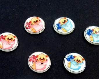 """5 SMALL Teddy Bear in PINK or BLUE Blanket Buttons.  5/8"""" or 15 mm handmade buttons.  Children's Sewing Buttons. Choose your Colour."""