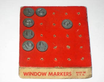 7 Vintage Arco Number Tacks - Window and Screen markers - Numbers 1,2,6,9,11,16 and 17 for Crafting