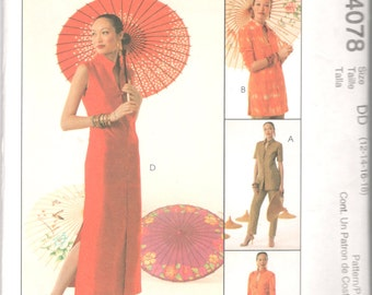 McCalls 4078 Asian Inspired Wardrobe Misses Tops Duster Dress Pants Pattern Womens Sewing Pattern Size 12 14 16 18 Bust 34 36 38 40  UNCUT