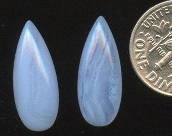 BLUE LACE AGATE One 8x20mm Long Pear drop Cabochon A+ grade natural color