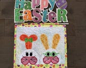 Quilted   EASTER  Wall Hanging. . . Whimsy Applique  BUNNY . . . Wall Hanger wirh Sparkles  . . . Seasonal Wall Decor