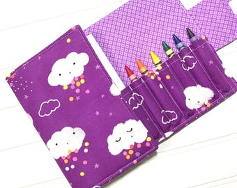 Kid's Crafts, Crayon organizer, Rain clouds, Art kit, Coloring wallet | Kids wallet, Unique party favor, Purple wallet, Kids travel wallet