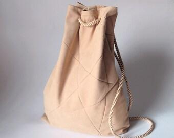 geometric backpack, vegan suede, rose pink