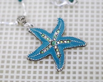 Silver & Gemstone Rosary Style Necklace - Custom Made - Shown in Turquoise - Turquoise and Crystal Starfish