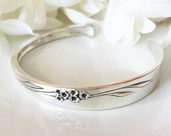 Spoon Bracelet Cuff, Spoon Jewelry, Silver Cuff Bracelet, Silver Bracelet Cuff - 1960 GENTLE ROSE