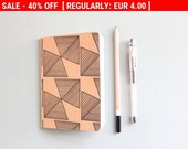 40% Off Regular Price! Pocket Notebook, Geometric Print on Brown Kraft Recycled Notebook, Small Christmas Gift, Stocking Stuffer, Gift fo...