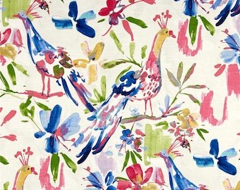 """Bird Home Decor, Bright Abstract Drapes, Watercolor Floral Curtains, Trendy Designer Window Curtains, Blue, Pink, Rod-Pocket, One Pair 50""""W"""