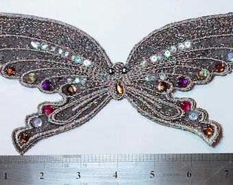 SE-103 Silver Butterfly Applique with Sequins and Rhinestones