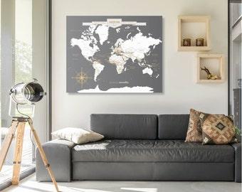 World Map Wall Art, World Map, World Map Canvas, Push Pin World Travel Map, Map Print, World Map Canvas, Travel Map // H-I18-1PS AA4