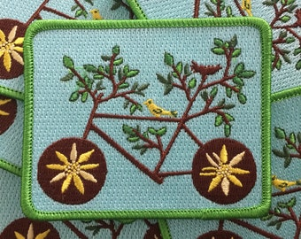 Embroidered Iron On Patch Bike Tree with Bird and Nest
