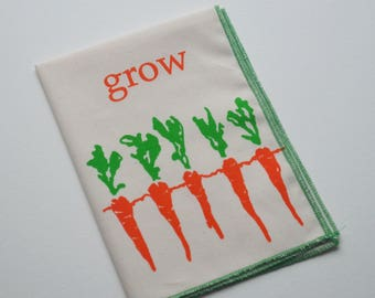 Organic Hanky Grow Carrots Handkerchief Mens Hankies Wedding Favor Farmer Gardener Vegtables