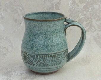 Hand Carved Aqua Mug