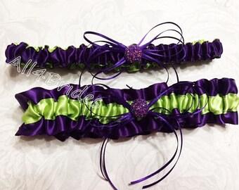 Lime green and deep purple plum wedding bridal leg garter set.  Satin bridal or prom garters.