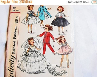"""SALE 25% Off Vintage 1950s Doll Clothes Pattern Doll Pattern Dresses Wedding Gown Coat Nightgown size 10 1/2"""" fits dolls Little Miss Revlon"""