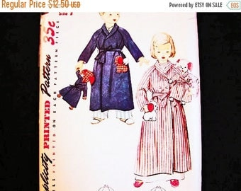 on SALE 25% OFF Vintage Toddler Robe Pattern size 3 with Stuffed Dog Animal Pattern for Boys and Girls 1950s Vintage Sewing Pattern