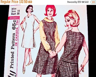 20% off SALE 1960s Jumper Dress Pattern Misses size 18 UNCUT Long Sleeve Blouse, A line Jumper, Sleeveless Dress Vintage Sewing Pattern