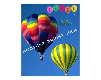 Hot Air Balloon Art, Laugh Often Quote, Cheerful Wall Art, Cottage Decor, Inspirational Art, Kids Room Decor, Wall Art, Digital Download