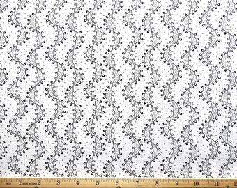 """Cotton Quilting Fabric By The Yard BTY Black Wavy Lines and Curls on White Background 45"""" Wide (sku BTY198-00016)"""