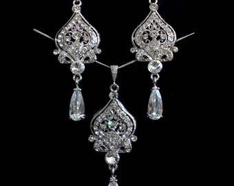 Silver Bridal Jewelry Set, Chandelier Bridal Earrings, Crystal Bridal Necklace, Cz Drop Wedding Earrings, Victorian Wedding Jewelry, ALLY