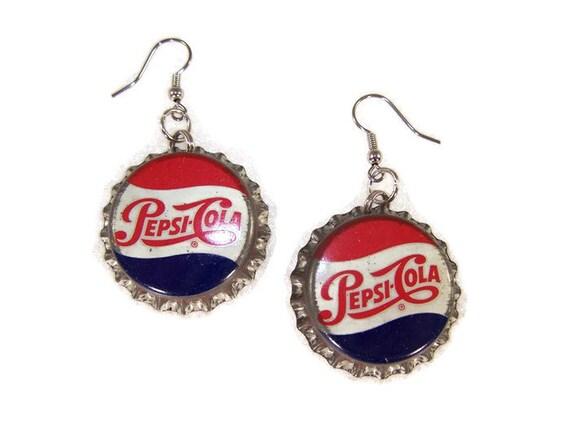 Vintage PEPSI COLA Soda Pop Bottle Cap EARRINGS Caps Tops Crowns