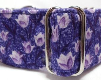 Purple Tulips Greyhound, Whippet, Galgo, Saluki, Borzoi, Pet, Dog Martingale or Buckle Collar