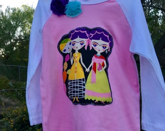FRIDA KAHLO Esperanza Dual Fridas GIRLS Embellished Raglan Tee Size 8 Ready-to-Ship
