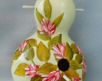 Hand Painted Birdhouse Gourd Pink Dahlia Buds On Lime