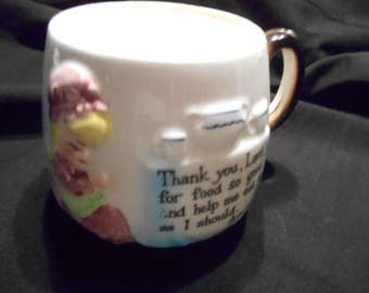 Vintage Enesco Japan Praying Girl Giving Thanks Child's Cup