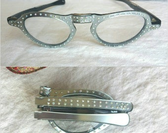 1960s Rhinestone Collapsible/Folding Cat Eye Glasses