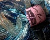 sari ribbon yarn . frozen 8 . 1 skein 66yds 50g . louisa harding sari ribbon . navy frosted ice blue stone silver . sparkle ribbon art yarn