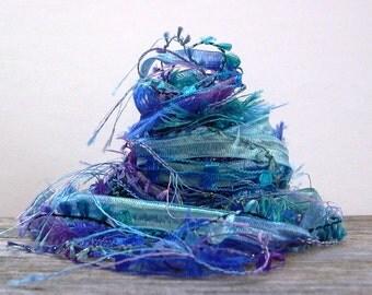 persephone fiber effects™  12yds novelty art yarn bundle ribbon embellishment textile fiber art pack . aqua periwinkle blue lavender purple