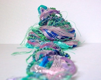 monet fiber effects™  art yarn bundle mixed media ribbon textile fiber pack 12yd . lavender pink aqua blue mint green silver