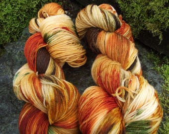 Handpainted sock yarn, fingerling yarn, Superwash Merino Nylon, 100 grams-Harvest