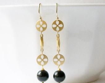 Black and Gold Dangle Earrings