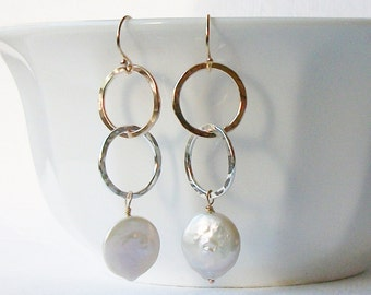 Coin Pearl Silver and Gold Circle Earrings, Long Dangle Earrings Silver Drop Earrings
