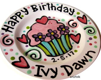 Personalised Birthday Plate confetti party swirls and cupcake handmade by Artzfolk