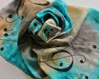 Hand Painted Silk Scarf - Handpainted Scarves Music Musical Notes Turquoise Aqua Blue Tan Gray Grey Black Treble Clef