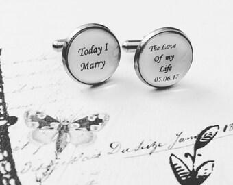 Today I Marry The Love Of My Life Wedding Cufflinks, Groom Wedding Cufflinks