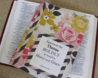 Legacy Prayer Journal, Bound Book, Pinks and Yellows Large Floral Print with Black and White Diagonal Striped Accents