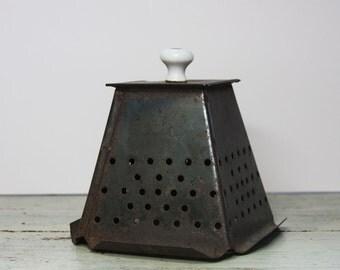 Antique TOASTER- Stove Top Toaster Box- Tin 4 Slice Toast- Depose Primitive Kitchen Ware- Rustic Decor- Repurposed Lighting Supply- M24