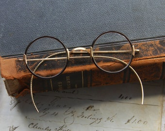 Antique EYE GLASS Spectacles- Vintage Eye wear- Round Frame Glasses with Gold Trim- Harry Potter Costume Glasses