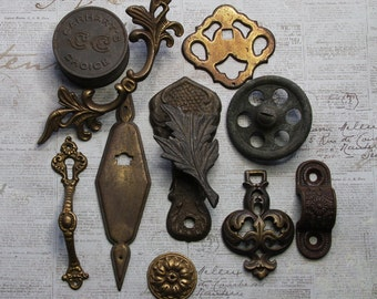Metal Salvaged Lot for Assemblage- Found Objects- Vintage Tin- Drawer Pulls Hardware Lot- Brass Lot