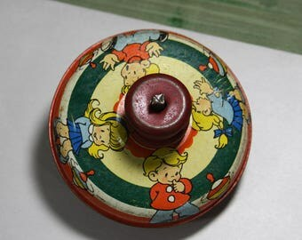 Vintage Toy SPINNING TOP- Ohio Art Metal Top with Illustrations- Colorful Antique Toy- Tin Top- Made in the USA- Vintage Nursery Decor