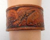 Eagle Leather Cuff Bracelet Brown Vintage Western Boho Unisex Bird Wings Jewelry