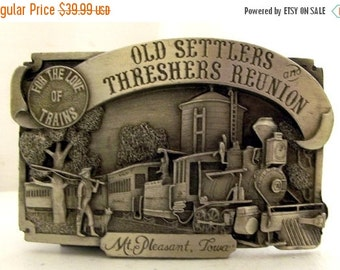 1983 Old Settlers and Threshers Reunion Mt Pleasant, IA Belt Buckle For The Love of Trains