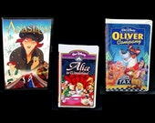 Anastasia, Alice in Wonderland, Oliver & Company (3) DISNEY VHS CLASSICS (Audio/Video in Like-New Condition) Completely Screened