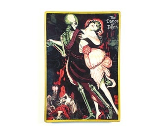 Dance of Death decoupage glass catch-all tray