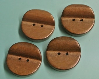 Lot of 4 larger handcrafted vintage 1960s unused dark brown round wood buttons for your sewing/decoration prodjects