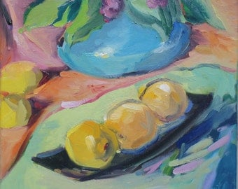 still life painting - impressionist - impressionism -  by South Carolina artist Linda Hunt - green plant - lemons - colorful art - original