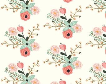 Pink + Ivory Flower Fabric - Summer Floral Ivory - Mint Floral - Flowers By Modfox - Girl Flowers Cotton Fabric By The Yard With Spoonflower